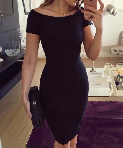 vestido tubinho  midi   ombro a ombro elegante versátil