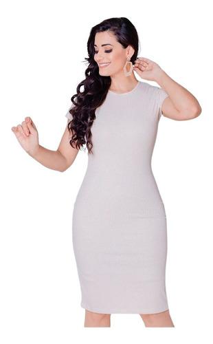 vestido tubinho off-white midi evangélico canelado moda