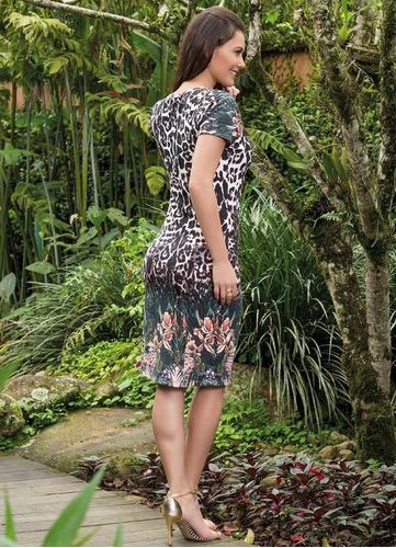 vestido tubinho saia midi manga curta estampa de bicho onça
