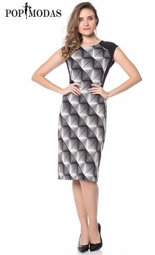 vestido tubinho social em jacquard moda evangelica promocao