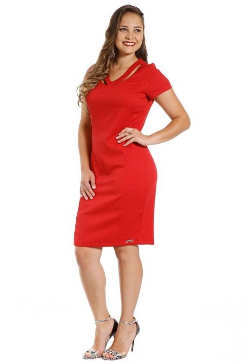 1b3cc04545 Vestido Tubinho Vermelho Decote V Moda Evangelica Piquet - R  129