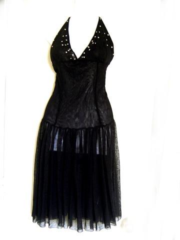 vestido tull o malla negro