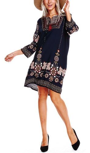 vestido túnica mujeres boho étnico bordado frente vendimia