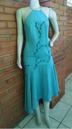 vestido turquesa festa bordado tamanho 38