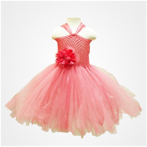 vestido tutu para niña coral con beige 2 a 3 años oferta