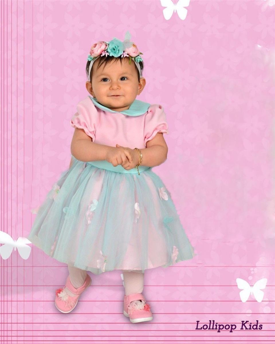 Vestido Tutú Rosa Con Mariposas Elegante + Diadema - $ 599.00 en ...