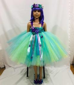 Vestido Tutu Sirenita Ariel Disfraz Princesas Tiara Niña