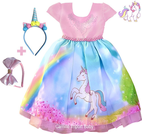 vestido unicornio 4 ao 16 festa infantil vem as 2 tiara luva