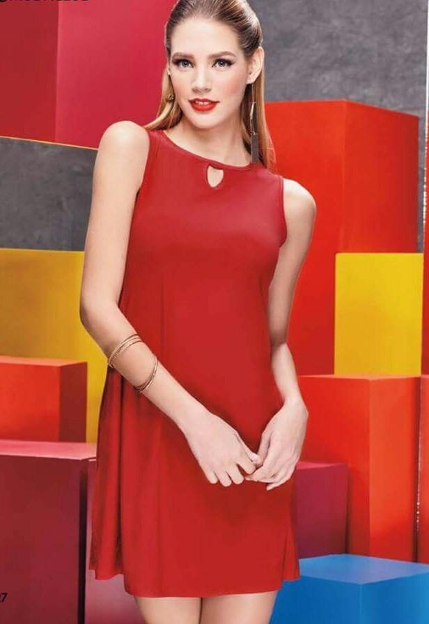 386614d7eb vestido v653 rojo basico linea a moda nacional moda club ma. Cargando zoom.