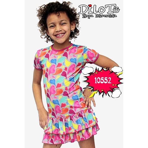 316ec02e1 Vestido Verano Estampado Divertido Dilotu Talle 2 Al 14 -   605