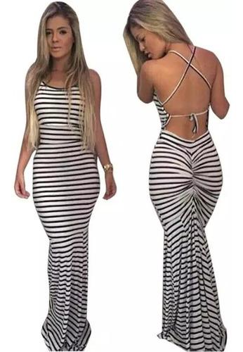 vestido verano largo corte sirena a rayas + envio gratis