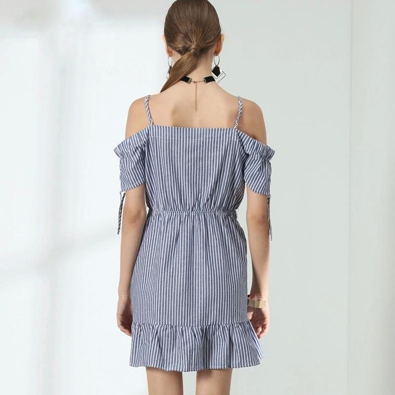 0d78672c1 vestido verao curto listrado azul tricoline ombro a ombro. Carregando zoom.