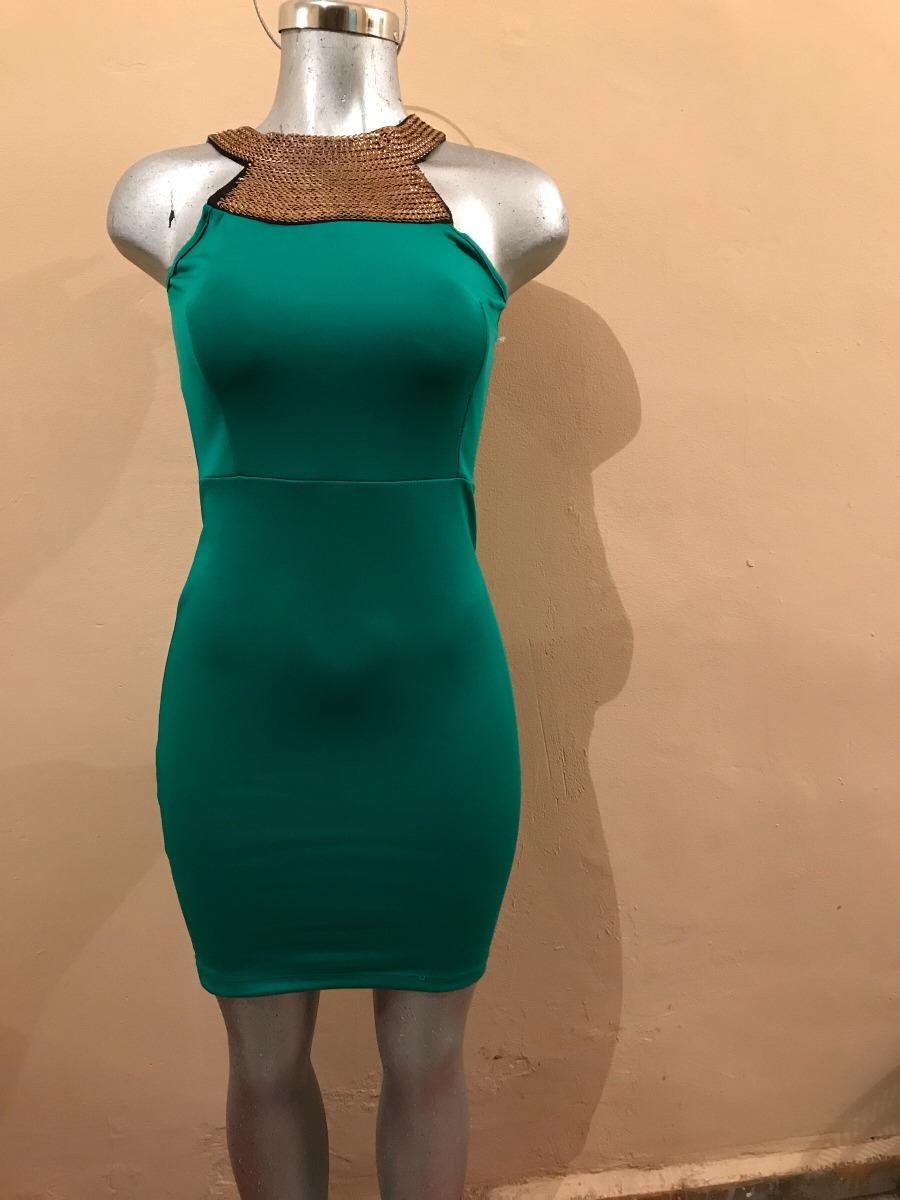 Vestido Verde Bandera Pegado Mujer 23000