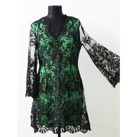 Vestido Verde Con Encaje Negro Diseño Unico - Envios