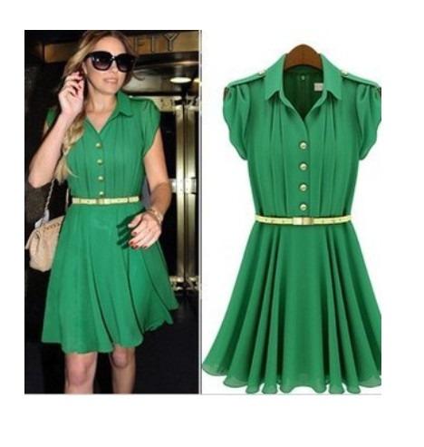 dd5335b62b Vestido Verde Em Crepe Chiffon - R  35