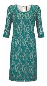 Vestido Verde Esmeralda De Encaje Rinna Bruni