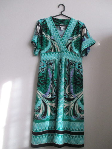 vestido verde estampado importado donna morgan s