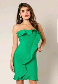 Vestido Verde Jade Strapless Con Olan Al Frente Y En Pecho