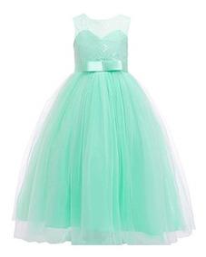 información para 3ba37 399a0 Vestido Verde Menta Primera Comunion Fiesta Niñas Glamulice