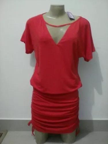 9611c63b3 Vestido Vermelho Em Malha De Algodão Drapeado Detalhe Tule - R$ 45 ...