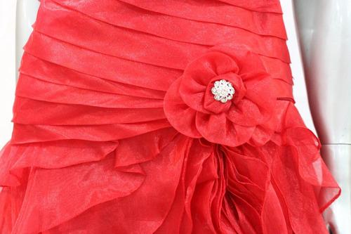 vestido vermelho longo babados importado tomara caia festa