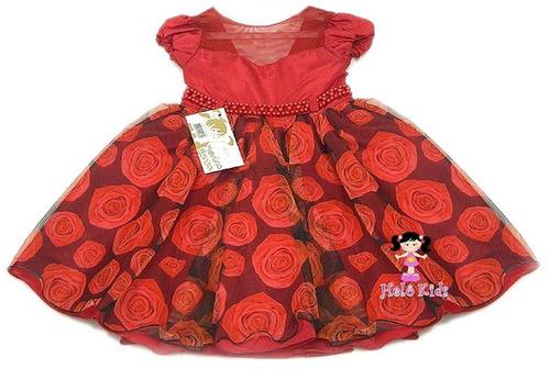 vestido vermelho saia com rosas