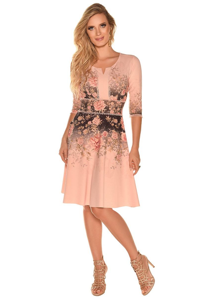 e916f106c Vestido Vestido Crepe Estampa Floral Moda Evangélica - R$ 399,90 em ...