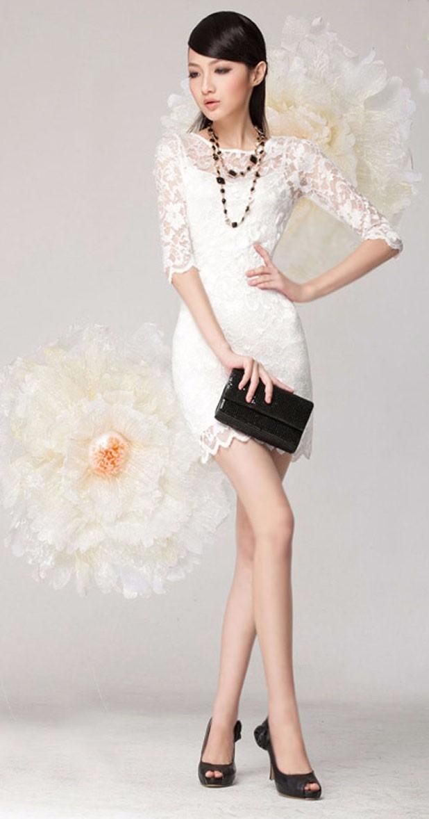 55e3bb09c vestido vestidos blanco corto coctel encaje talla xl encajes. Cargando zoom.
