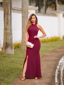 Vestido Vinho Marsala Vermelho Escuro Longo Vestido Festa