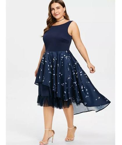 vestido vintage azul marino talla plus + envío gratis