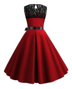 Vestido Vintage De Epoca Color Rojo Con Encaje