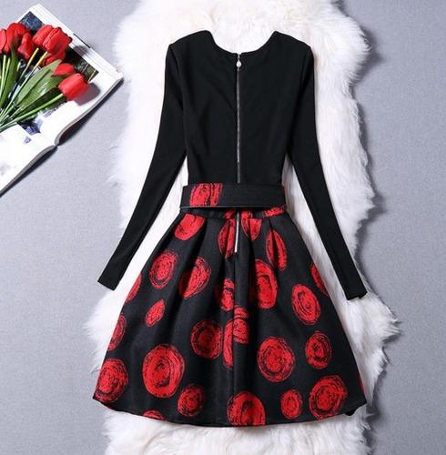 vestido vintage enterizo manga circulos rojos