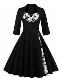 d786df022 Vestido Vintage Pin Up, Negro Años 50, Va 269