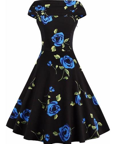 vestido vintage pin up, negro azul años 50 rockabilly va 260