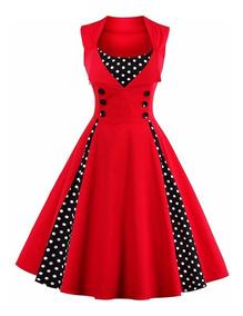 diseño atemporal ee0cc 99c5f Vestido Vintage Pin Up, Rojo Años 50, Rockabilly Va 207