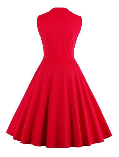 vestido vintage pin up, rojo años 50, rockabilly va 270
