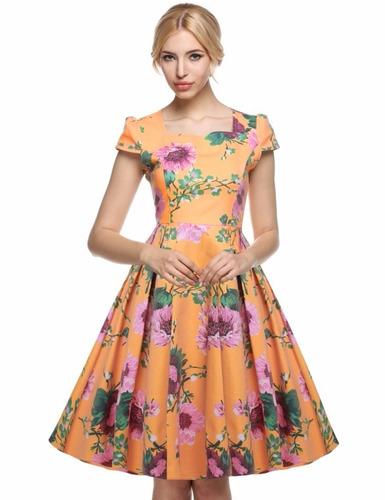 vestido vintage retro pin up amarillo flores fiesta c/vuelo