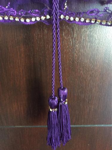 vestido violeta y dorado natalia antolin bordado
