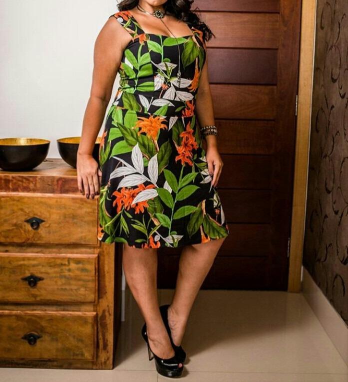 299b52ab1 Vestido Viscose Estampado Plus Size - R$ 165,64 em Mercado Livre