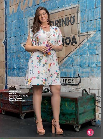 cb6641a77 Vestido White Estampado Plus Size - R$ 249,90 em Mercado Livre