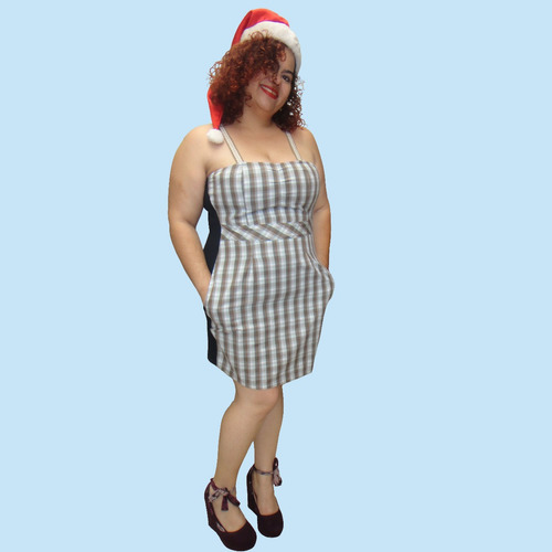 vestido xadrez ampulheta plus size (do 46 ao 50)