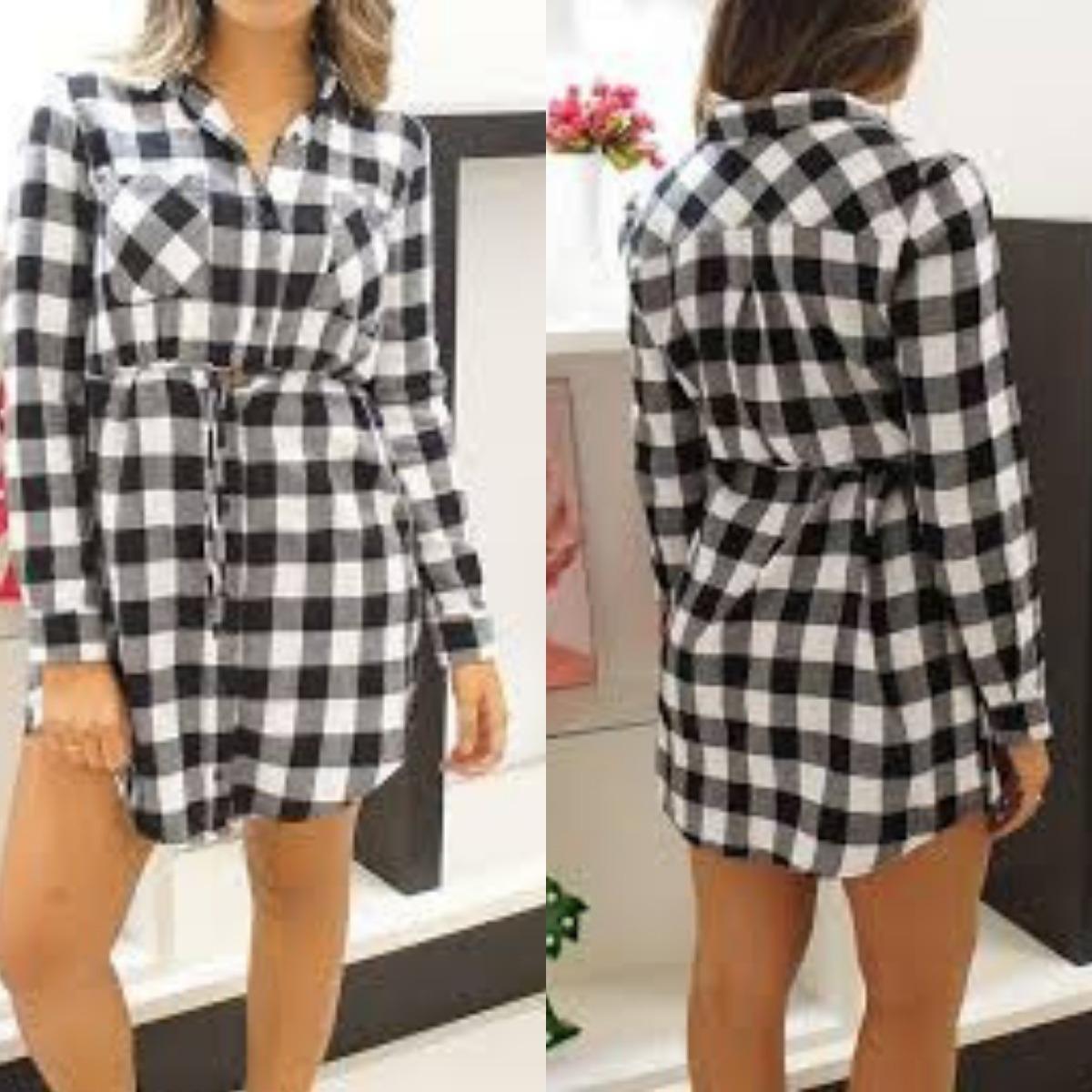adcef3f2fc vestido xadrez feminino camisão camisa longa aishty. Carregando zoom.