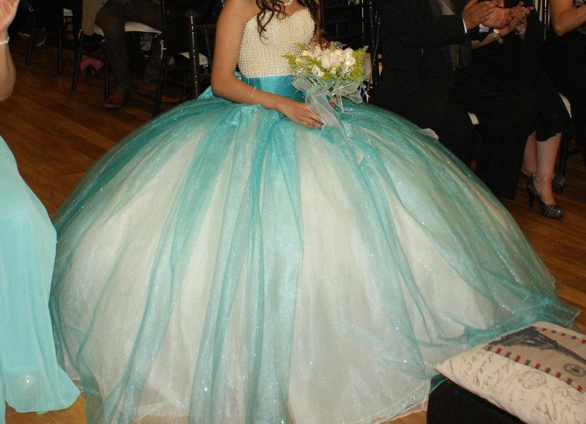 91d01db53 vestido xv años (3pzas) talla 30-32 color aqua. Cargando zoom.