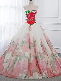 Vestido De Xv Rojo Con Blanco Vestidos De Mujer De 15