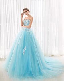Vestido Xv Años Aqua Con Lentejuela Y Bordado Nueva Colecció