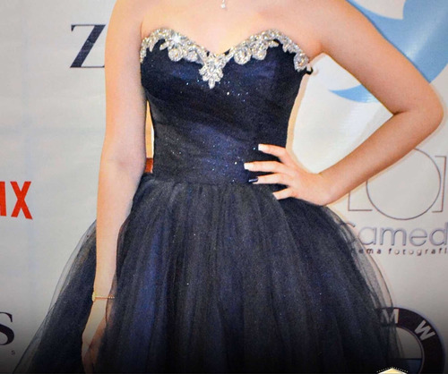 vestido xv años azul marino