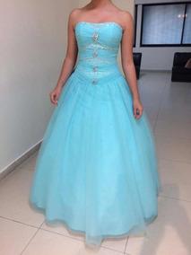 Vestido De 15 A Os Color Azul Turquesa En Muy Buen Estado