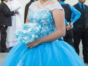 Vestido De Xv Años Azul Turquesa Desmontable Largo De