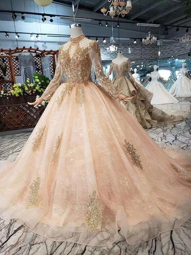 vestido xv años champagne nueva colección