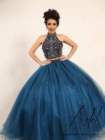 Vestido Xv Años Color Azul Petroleo Usado